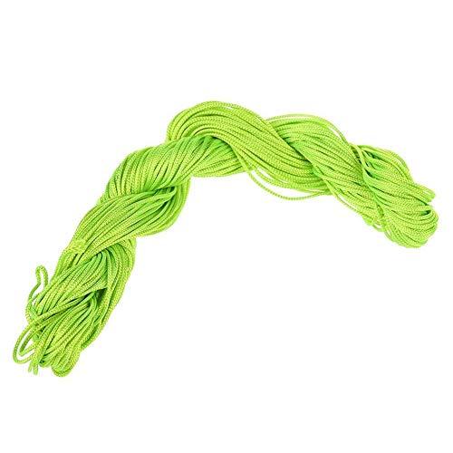 Fliyeong Hilo de nylon verde claro nudo chino cordón 1mm pulsera hilo cuerda rebordear macramé rattail 25M pulsera trenzado cuerda práctica y popular