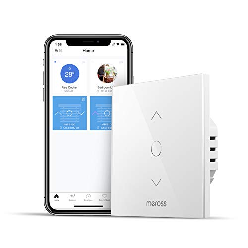 Interruptor de Cortina Inteligente, Wi-Fi Interruptor de Persiana Enrollable, Compatible con Alexa, Google Assistant y SmartThings. 2,4Ghz. meross. (Se Requiere un Cable Neutral)