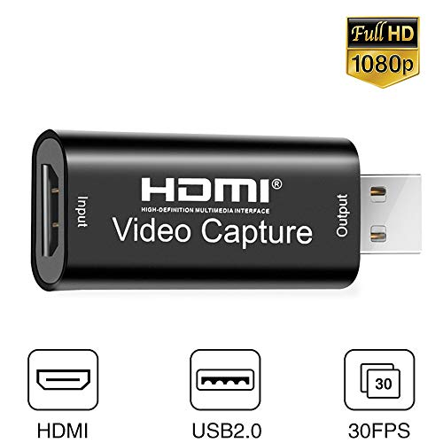 Audio Video Capture Cards HDMI to USB 1080p 30fps USB 2.0 Record via DSLR Camcorder Action Cam for Gaming, Live Broadcasting, Streaming