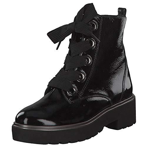 Paul Green 9432 005 Damen Sportiver Boots aus Lackleder Lederinnenausstattung, Groesse 41, schwarz