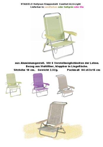 Chaise longue de camping sTABIELO beach-couleur beige et lilas-charge max. : 120 kg-sangle de transport 6 niveaux en structure en aluminium avec accoudoirs-réglage de siège en pOSITION-innovations chaise longue lot de 2 en allemagne-holly ® sTABIELO-produits