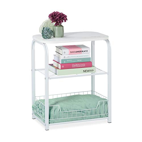 Relaxdays Beistelltisch mit Aufbewahrung, Tischplatte in Marmor-Optik, Metallgestell, HxBxT: 62 x 50 x 30 cm, weiß