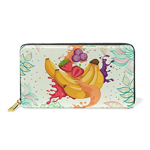 Blumenfrucht-Bananensaft Leder Brieftasche Reißverschluss Geldbörse Telefon Kreditkartenetui Portemonnaie Wallet für Frauen Mädchen Männer