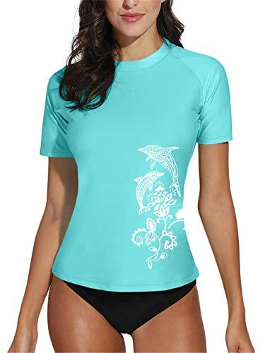 Rash Guard Womens Short Sleeve Surf Shirt UPF 50+ Swimming Tops Rashguard XXL