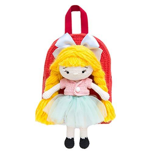 GFFTYX Kit Material de Mochila para niños Tejidos a Mano DIY, la muñeca es removible y Tiene una Gran Capacidad Adecuada para los Regalos navideños de los niños. (Color : A)