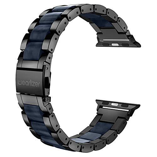 Wearlizer für Apple Watch Armband 38mm 40mm Serie 5 4, Edelstahl Metall Harz iWatch Straps Ersatzband Uhrenarmband Wristband für iWatch Serie 3 2 1 - Schwarz