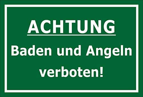 Melis Folienwerkstatt Schild Baden Angeln verboten 30x20cm - Bohrlöcher - 3mm Aluverbund – 20 VAR S00110-001-G
