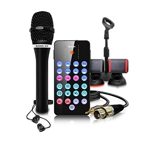 Icon Pro Audio Bundle con micrófono de condensador, soportes, cables y estuche de transporte, micrófono, auriculares (ICOA-LPBNDL)