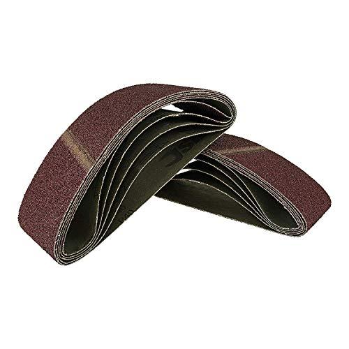 10 Stück Gewebe-Schleifbänder gemischt 75 x 533, für Bandschleifer - 5 Körnungen jeweils 2 x K40/60/80/120/180 / Schleifpapier/Schleif-Mix/Schleifbänder