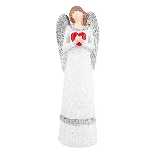 Neufday 20 cm Resina Belleza Blanca Figura Esculpida Adornos de Mesa Pintados A Mano Ángel Estatuilla Moda Accesorios de Decoración del Hogar(Heart)