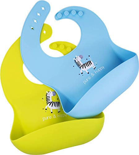 Pure Happy Silicone Bibs for Babies and Toddlers, Waterproof Silicone Baby Bibs for Girls and Boys, Set of 2 Green Blue Silicone Bib, Adjustable, Easily Wipe Clean, Dishwasher Safe, Washable, BPA Free