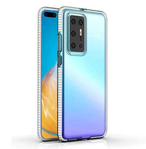 Huawei P40 Pro Case, CaseExpert Ultra-Slim Soft Transparent Clear Case with Color Bumper Gel Silicone TPU Back Cover for Huawei P40 Pro