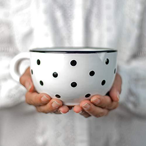 City to Cottage® - Keramik XXL Tasse 500 ml | Kaffeebecher | Weiß und Schwarz | Polka Dots | Handgemacht | Keramik Geschirr | Große Tasse