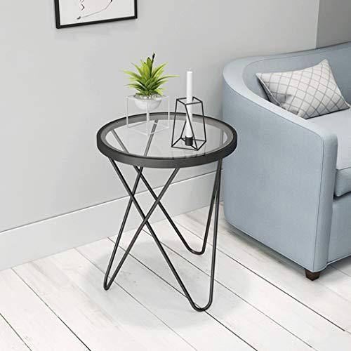 Table d'appoint, Petit café en métal et Verre Stand de Fleurs de Chevet Multi-Fonction Support Salon Chambre canapé Or et Noir (Couleur : Noir)