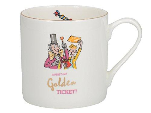 Creative Tops Roald Dahl Grand mug avec Charlie et la chocolaterie Illustration avec Bord Or Véritable, Porcelaine Anglaise, Blanc/Multicolore, 11x 11x 8.5cm