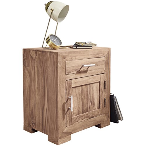 Wohnling massief hout Sheesham design nachtkastje 60 cm met lade en deur nachtkastje voor boxspringbed nachtkastje, hout modern 50 x 40 x 60 cm acacia