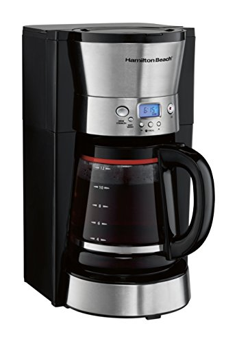 Hamilton Beach Programmable Coffee Maker, 12 Cup Glass Carafe, Black (46895)