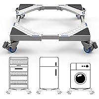 Dewel Base Móvil Ajustable 44.8~69cm para Lavadora Multifuncional con 4 Ruedas Giratorias Dobles de Goma Soporte para Lavadora, Secadora y Refrigerador,360°Giración