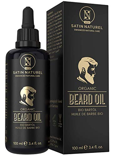 L'Olio da Barba BIOLOGICO Vegano - 2 VOLTE PIÙ GRANDE (100ml) in Vetro Viola - Nutriente per la Barba - Solo Oli Naturali, Senza Additivi - Idea Regalo per Uomo - Made in Germany