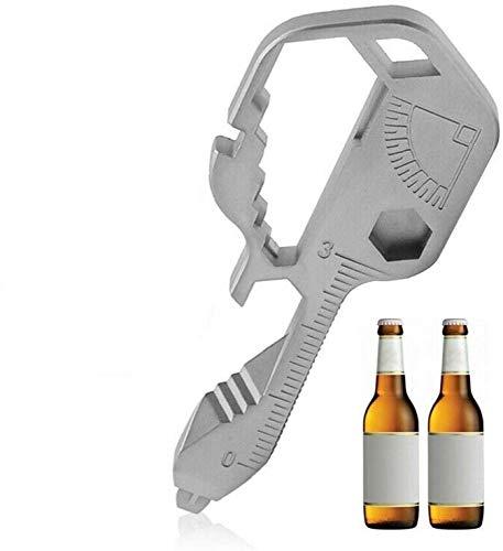 24-in-1-Multitool-Schlüssel, schlüsselförmiges Edelstahl-Taschenwerkzeug für Schlüsselbund-Flaschenöffner, Outdoor Travel Utility-Überlebensschlüssel aus Edelstahl