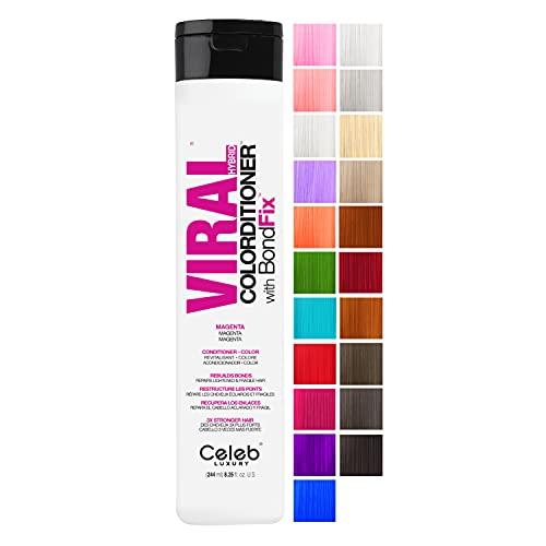 Celeb Luxury Viral Colorditioner, Professional Semi-Permanent Hair Color Depositing Conditioner, Magenta