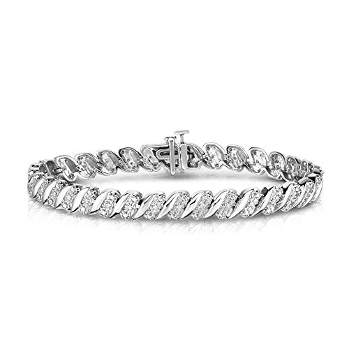NATALIA DRAKE 1/4 Cttw Wave Link Diamond Tennis Bracelet for Women in Rhodium Plated Sterling Silver (Color I-J / Clarity I2-I3)