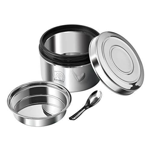 NanoNine Local Byte Double Wall Insulated Stainless Steel Lunch Box with Steel Lid, 450 ml, 1 pc