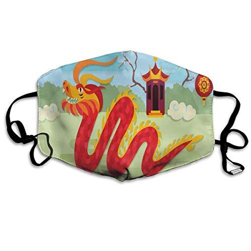 Winddichte Maske, Festliche Illustration der chinesischen Pavillon-Büsche und des Grases auf dem Hintergrund, für Kinder Jugendliche Männer Frauen