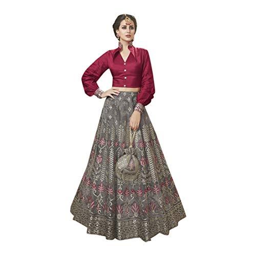 Maroon Shirt Grey Skirt Braut Schwerer königlicher Rock Lehenga Rüschen Choli Potli Clutch Christian Hochzeit Frauen Kleid Muslim 7694