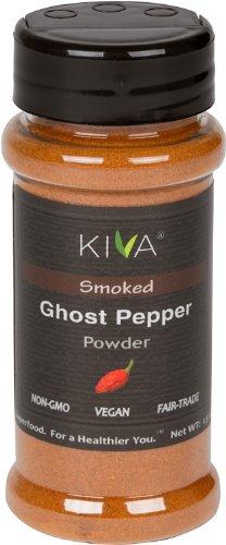 Kiva Gourmet Smoked, Ghost Chili Pepper Powder (Bhut Jolokia) - Non GMO, Vegan, Fair Trade