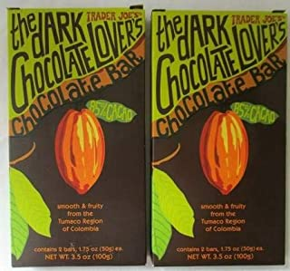 Trader Joe's the Dark Chocolate Lover's Chocolate Bar (3.5 oz/ 1.7 oz bar)(Pack..