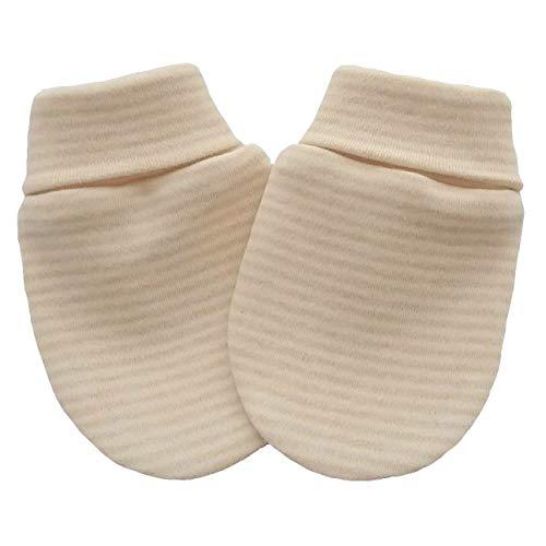 Coton bio tricot tissu nouveau-né anti-rayures moufles mitaines gants bébé, couleur marron clair rayé (3-6 mois, marron clair rayé)