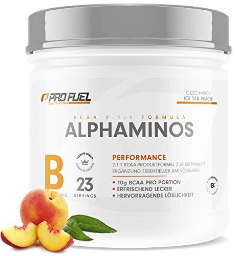 ALPHAMINOS | TESTSIEGER BCAA Pulver 2:1:1 | Das ORIGINAL von ProFuel | Essentielle Aminosäuren | Unfassbar leckerer Geschmack (Ice Tea Peach)