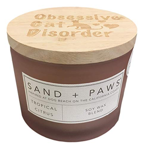 Sand + Paws Tropical Citrus Scented Candle, Neutralizes Pet Odors, 2 Wick, 12 Oz (Pink)