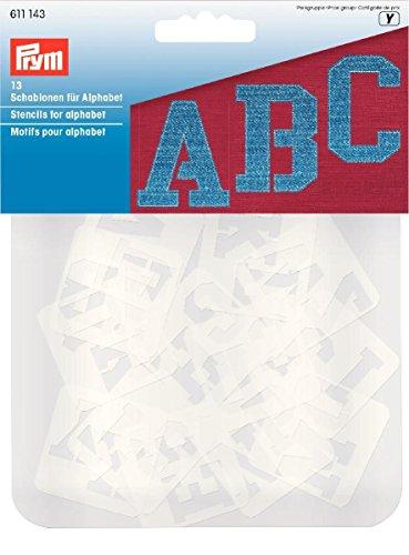PRYM, gesorteerde sjablonen voor alfabet, transparant, 13 stuks