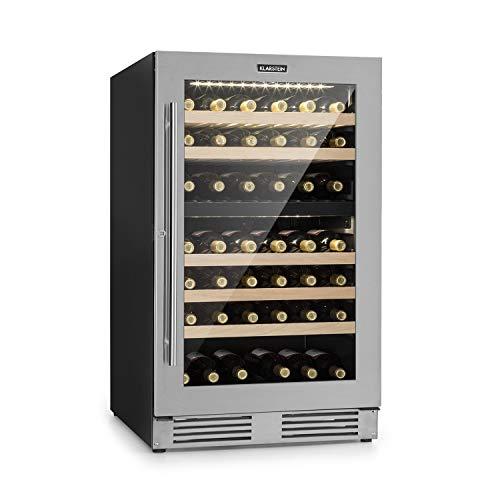 Klarstein Vinovilla Duo 79 Nevera para vinos - 59,5 cm, 189 litros, 79 botellas, independiente o empotrado, Eficiencia energética A, 2 zonas de refrigeración, iluminación LED, Acero inoxidable
