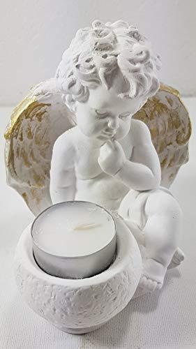 Vivien Sitzender Engel mit Teelichthalter für Kerzen Dekoengel