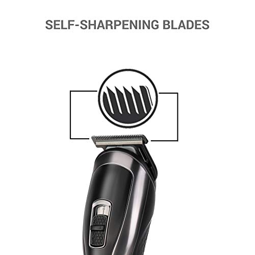 SYSKA HT3333K Corded & Cordless Stainless Steel Blade Grooming Trimmer with 60 Minutes Working Time; 10 Length Settings (Black)
