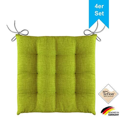 LILENO HOME 4er Set Stuhlkissen Apfelgrün (40x40x4,5 cm) - Sitzkissen für Gartenstuhl, Küche oder Esszimmerstuhl - Bequeme UV-beständige Indoor u. Outdoor Stuhlauflage als Stuhl Kissen