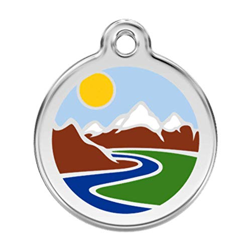 K9 Palace Red Dingo Stainless Steel with Enamel Pet I.D. Tag - Mountains (Medium)