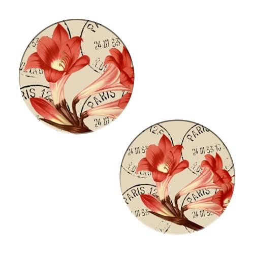 Belladonna Lily Redouté - Posavasos para bebidas, diseño de flores de cerámica absorbentes, juego de 2 posavasos redondos para protección de mesa, decoración de apartamentos de cocina, bar
