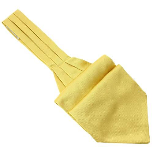 Tony & Paul. Cravate Ascot. Ascot, Soie. Jaune, Uni. Fabriqué en Italie.