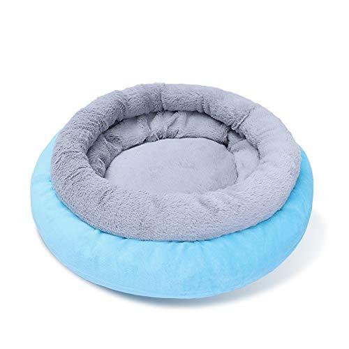 mdtep Winter Hundebett Warm Rund Plüsch Sofa Haus, Kleiner Hund, weiches Schlafbett, Katzenmatte Bett, Hundematratze Waschbares Hundebett (Color : Blue, Size : Small)
