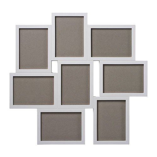 Ikea - Cornice per 8 fotografie Vaxbo, colore bianco, 13 x 18 cm