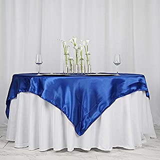 BalsaCircle 5 pcs 72x72 inch Royal Blue Square Tablecloth Satin Table Overlays Linens for Wedding Table Cloth Party Reception Events Kitchen Dining