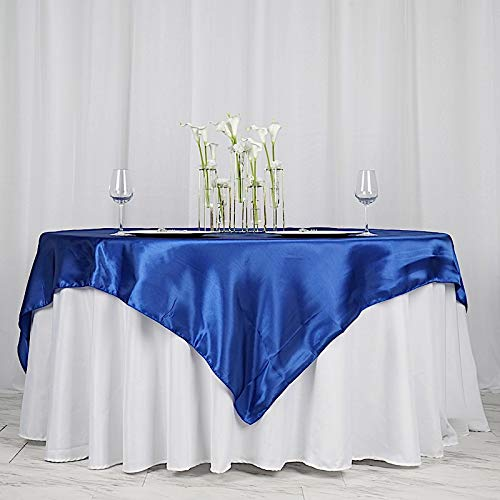 BalsaCircle 5 pcs 72x72-Inch Royal Blue Satin Table Overlays - Wedding Reception Party Catering Table Linens Decorations