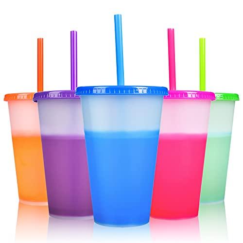 Colour Changing Cups - 5 PCS Reusable Plastic Tumblers with Lids & Straws...