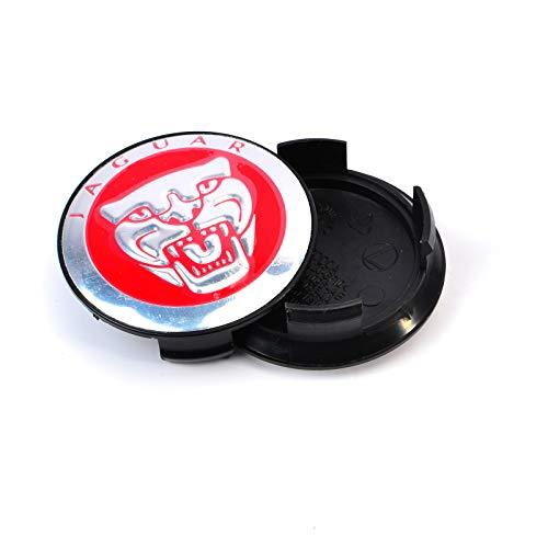 AnvFlik 4 Pcs Wheel Centre Caps HUB CAP Black 58 Mm For JAGUAR X TYPE XK XF XJ XJ8 XJ6 - Red
