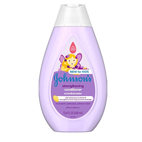 Johnson's Strengthening Tear-Free Kids' Conditioner with Vitamin E Strengthens & Helps Prevent Breakage, Paraben-, Sulfate- & Dye-Free, Hypoallergenic & Gentle on Toddler Hair, 13.6 fl. oz