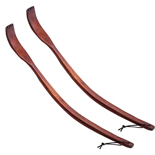 """Oversize Curved Wooden Back Scratchers for Adults Men Women Extendable, 17"""" Long Ergonomic Unique Handle, Easy to Reach The Itching Point, Strong and Sturdy"""